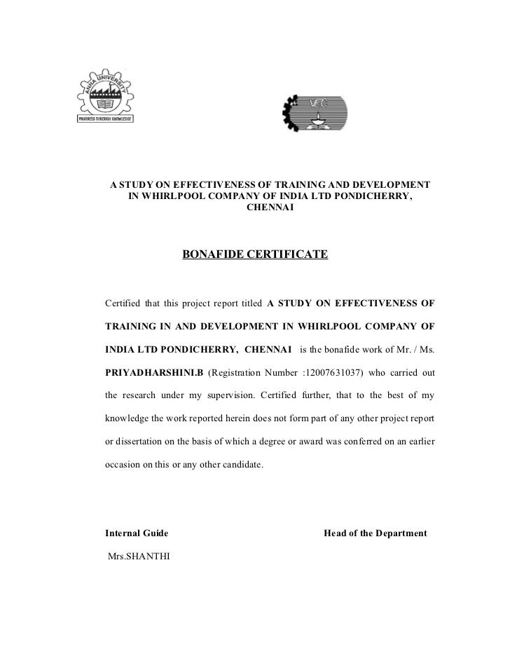 project work certificate format