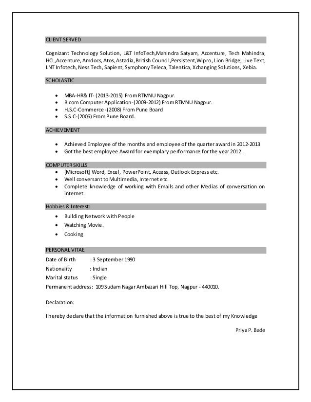 priya bade resume