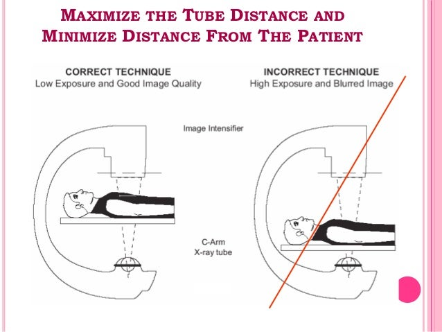 MAXIMIZE THE TUBE DISTANCE AND MINIMIZE DISTANCE FROM THE PATIENT