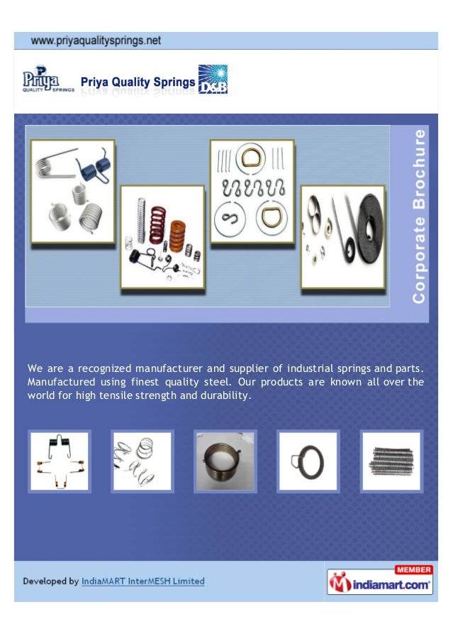 We are a recognized manufacturer and supplier of industrial springs and parts. Manufactured using finest quality steel. Ou...