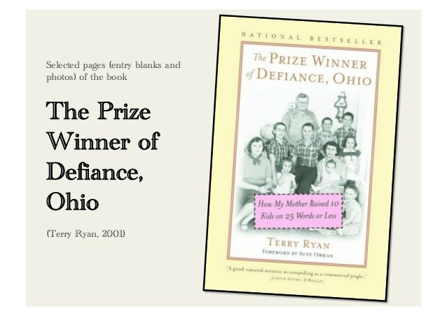 Selected pages (entry blanks andphotos) of the bookThe PrizeWinner ofDefiance,Ohio(Terry Ryan, 2001)