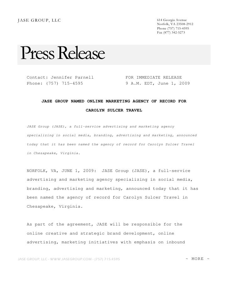 Press Release Jase Group Signs Agency Of Record Agreement