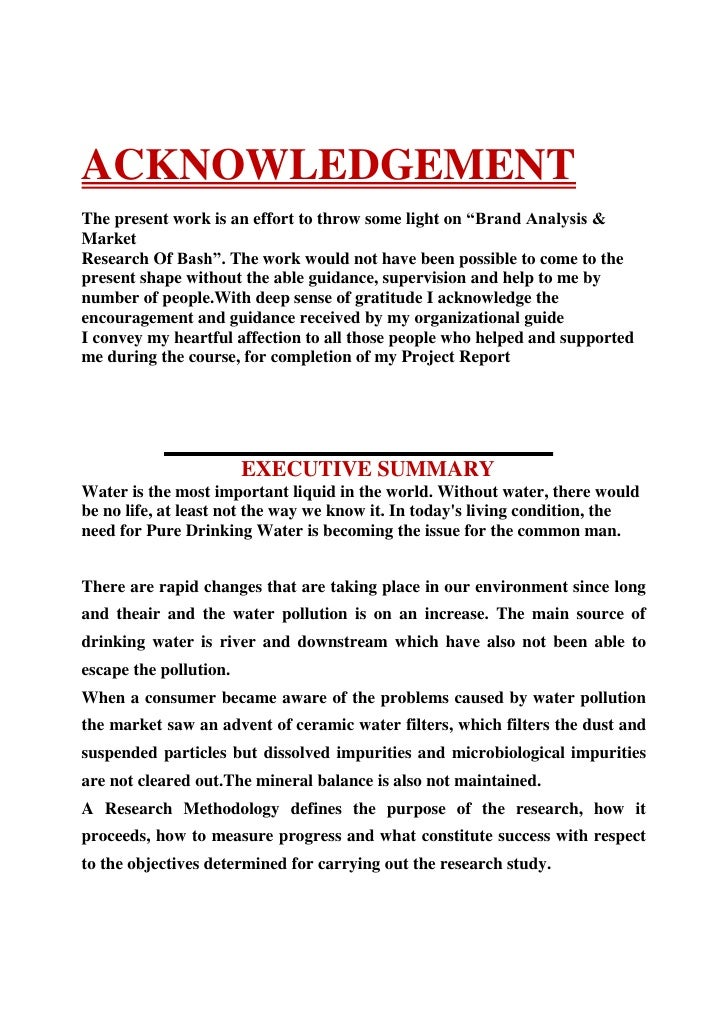 """ACKNOWLEDGEMENT<br />The present work is an effort to throw some light on""""Brand Analysis..."""