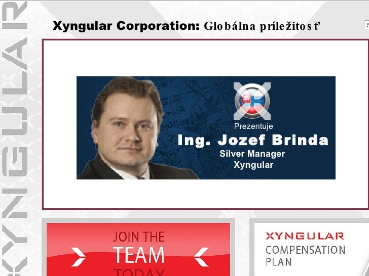 Xyngular Corporation:  Glob álna príležitosť Prezentuje Ing. Jozef Brinda Silver Manager   Xyngular