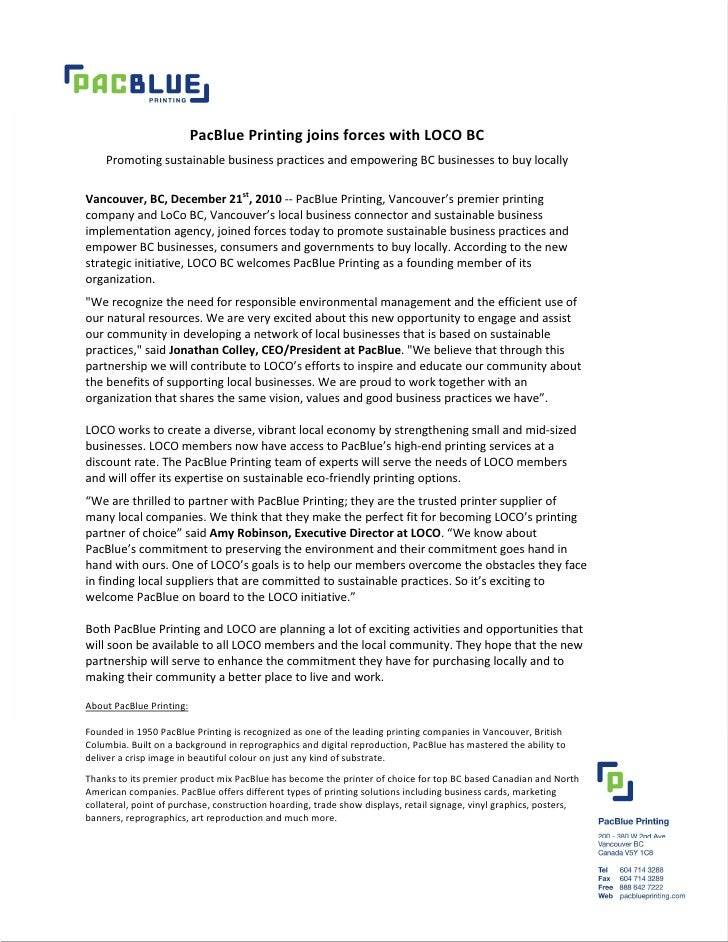 PacBlue Printing joins forces with LOCO BC    Promoting sustainable business practices and empowering BC businesses to buy...