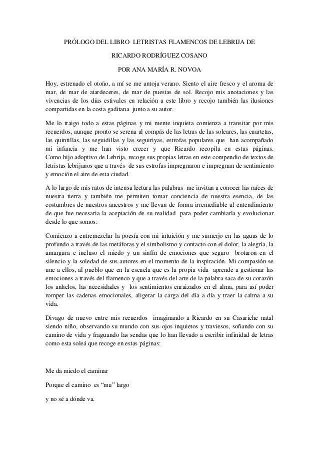 PRÓLOGO DEL LIBRO LETRISTAS FLAMENCOS DE LEBRIJA DE                          RICARDO RODRÍGUEZ COSANO                     ...
