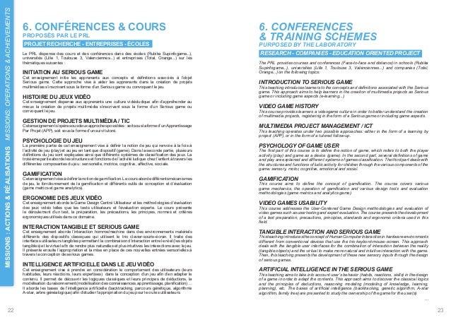 ACHIEVEMENTS  6. CONFÉRENCES & COURS  6. CONFERENCES  PROPOSÉS PAR LE PRL  & TRAINING SCHEMES  PROJET RECHERCHE - ENTREPRI...