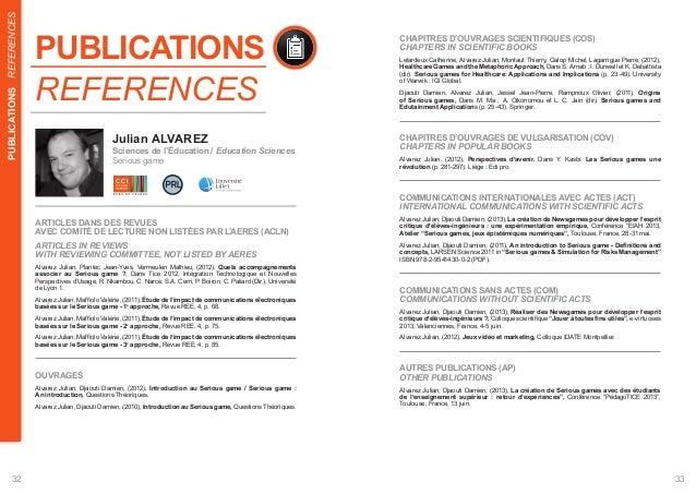 REFERENCES  PUBLICATIONS  CHAPITRES D'OUVRAGES SCIENTIFIQUES (COS)  CHAPTERS IN SCIENTIFIC BOOKS  Lelardeux Catherine, Alv...