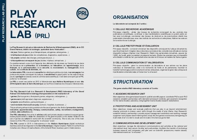 PLAY  RESEARCH  LAB (PRL)  Le Play Research Lab est un laboratoire de Recherche & Développement (R&D), de la CCI  Grand Ha...