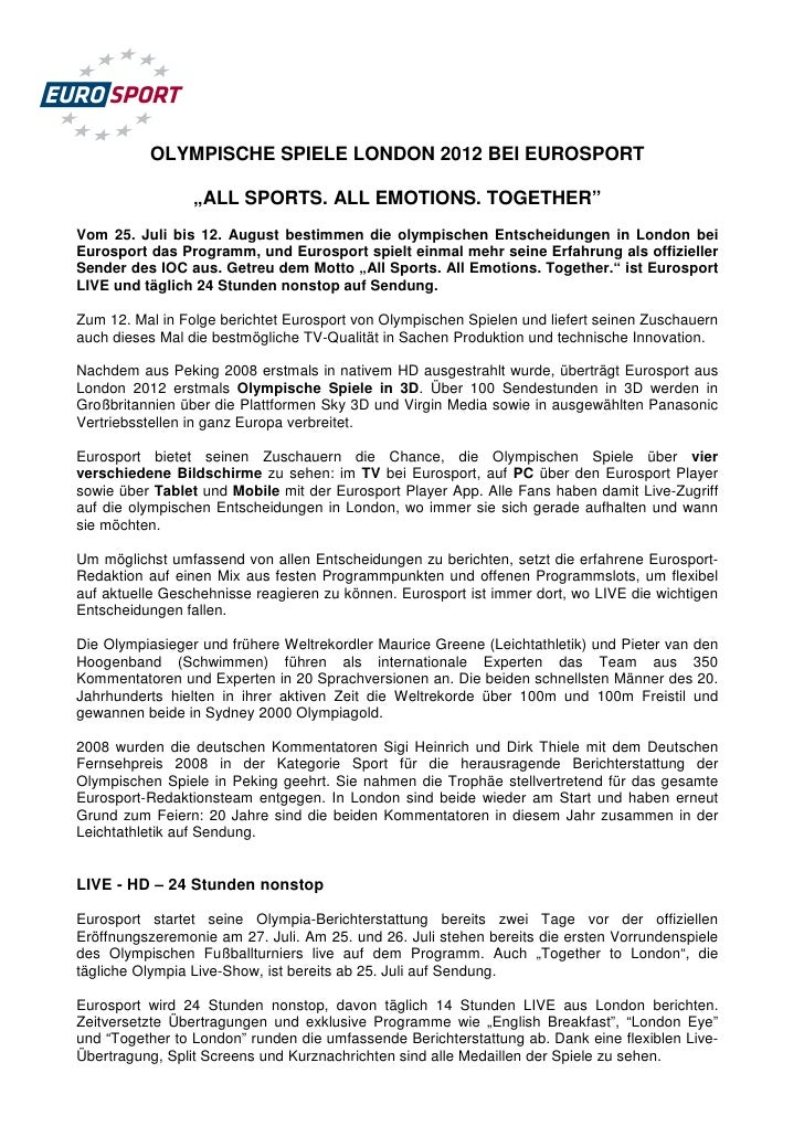 "OLYMPISCHE SPIELE LONDON 2012 BEI EUROSPORT                 ""ALL SPORTS. ALL EMOTIONS. TOGETHER""Vom 25. Juli bis 12. Augus..."