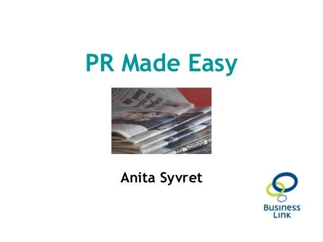 PR Made Easy Anita Syvret
