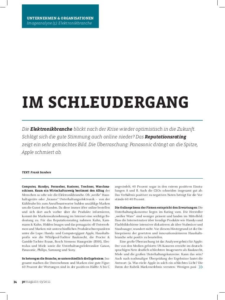 UNTERNEHMEN & ORGANISATIONEN        Imageanalyse (5): Elektronikbranche     IM SCHLEUDERGANG     Die Elektronikbranche bli...