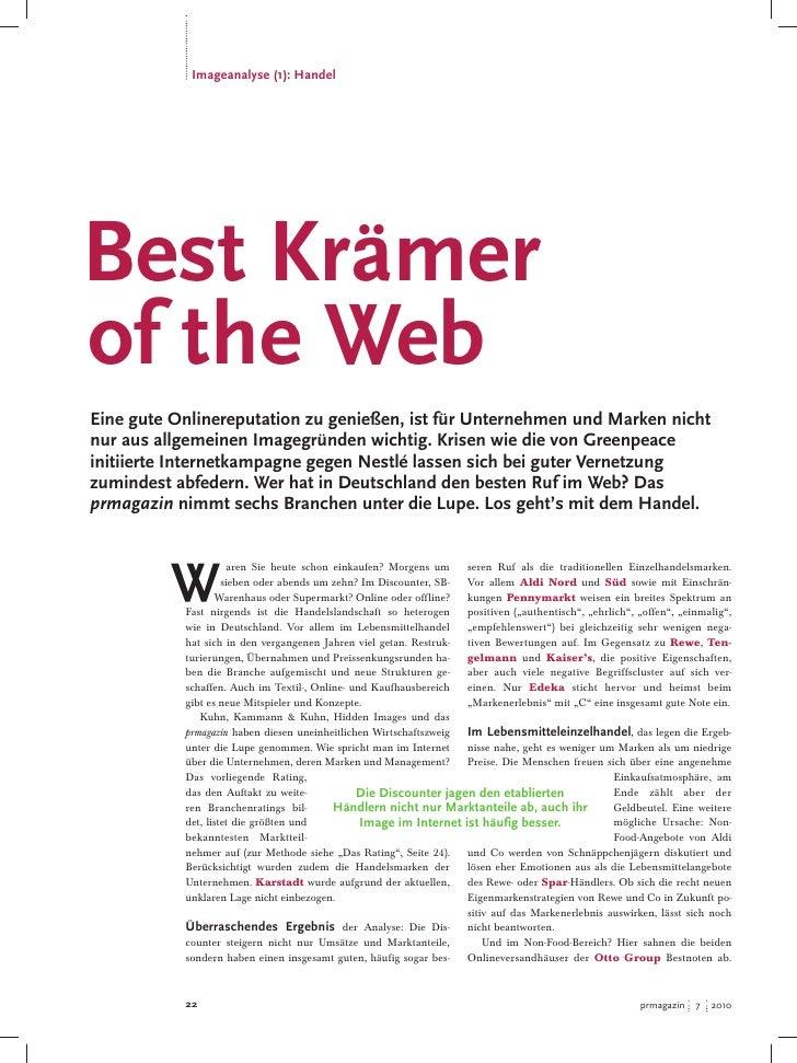 Imageanalyse (1): Handel     Best Krämer of the Web Eine gute Onlinereputation zu genießen, ist für Unternehmen und Marken...