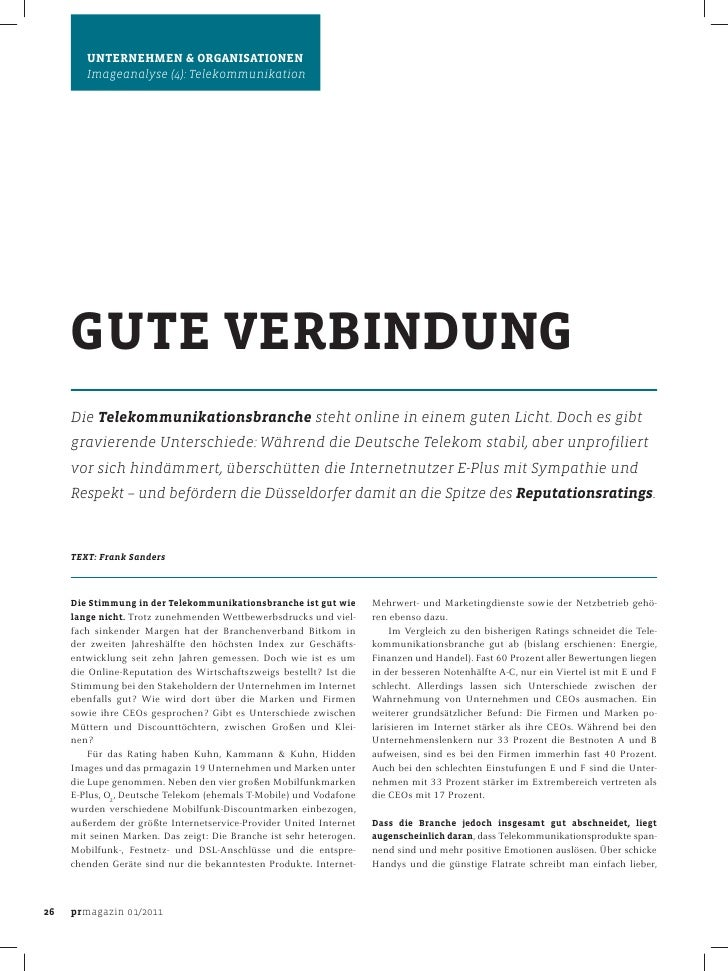 Reputation Rating Telekommunikation – Gute Verbindung