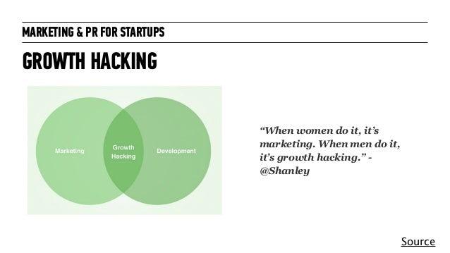 "MARKETING & PR FOR STARTUPS GROWTH HACKING Source ""When women do it, it's marketing. When men do it, it's growth hacking.""..."
