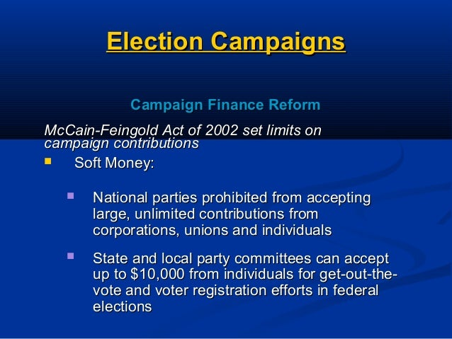 an introduction to the campaign finance reform Campaign finance reform must be accompanied by efforts to strengthen voting rights - restoring the full protections of the voting rights act, expanding early voting and vote-by-mail, implementing automatic voter registration, ending gerrymandering and making election day a national holiday, among others.