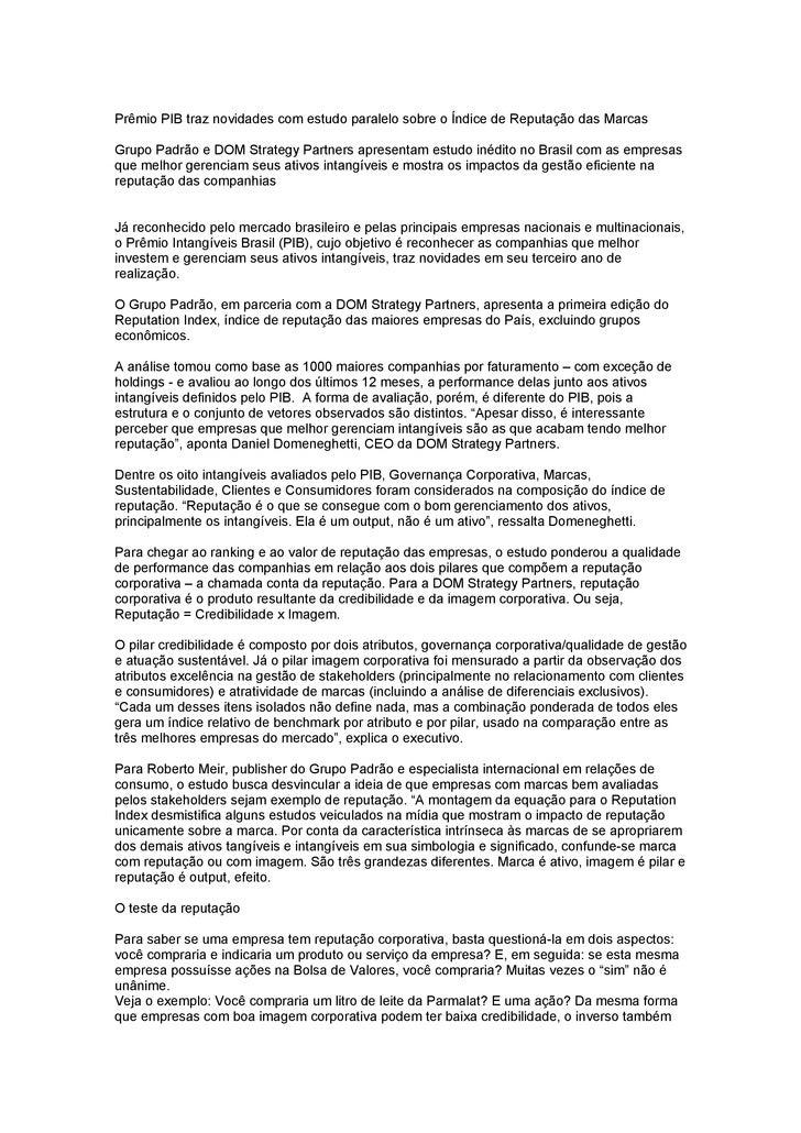 Prêmio PIB traz novidades com estudo paralelo sobre o Índice de Reputação das Marcas  Grupo Padrão e DOM Strategy Partners...