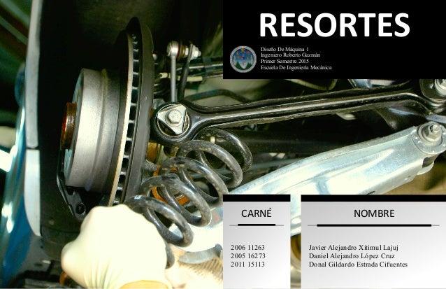RESORTES  Diseño De Máquina 1 Ingeniero Roberto Guzmán Primer Semestre 2015 Escuela De Ingeniería Mecánica CARNÉ 2006 11...