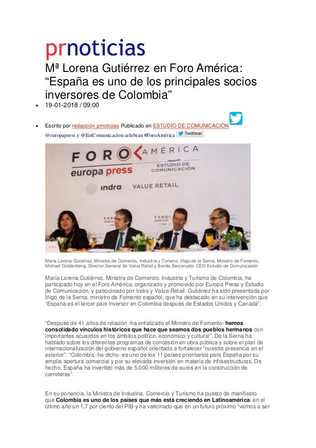 """Mª Lorena Gutiérrez en Foro América: """"España es uno de los principales socios inversores de Colombia"""" • 19-01-2018 / 09:00..."""