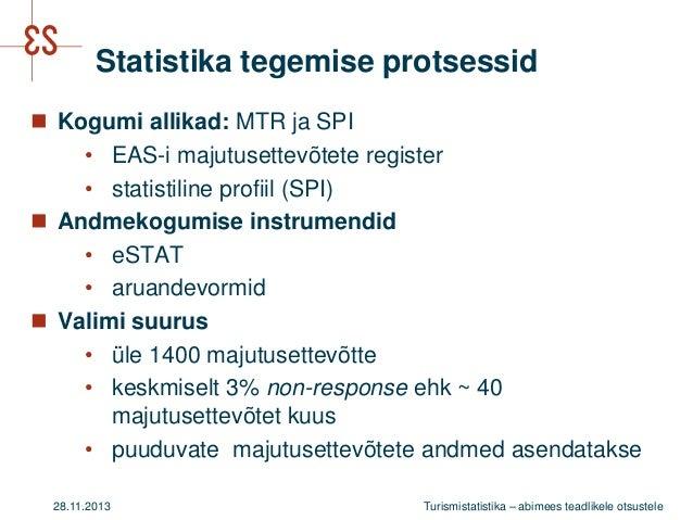 Statistika tegemise protsessid  Kogumi allikad: MTR ja SPI • EAS-i majutusettevõtete register • statistiline profiil (SPI...