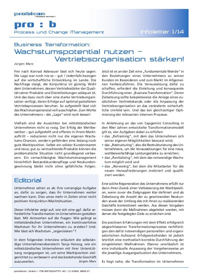 probicon GmbH | MEHRINGDAMM 40 | D-10961 BERLIN  pro : b Process und Change Management Infoletter 1/14 Business Transform...