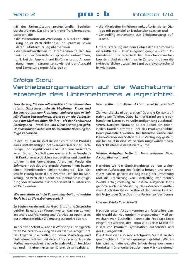 probicon GmbH | MEHRINGDAMM 40 | D-10961 BERLIN  Infoletter 2/12 mit der Unterstützung professioneller Begleiter durchzuf...