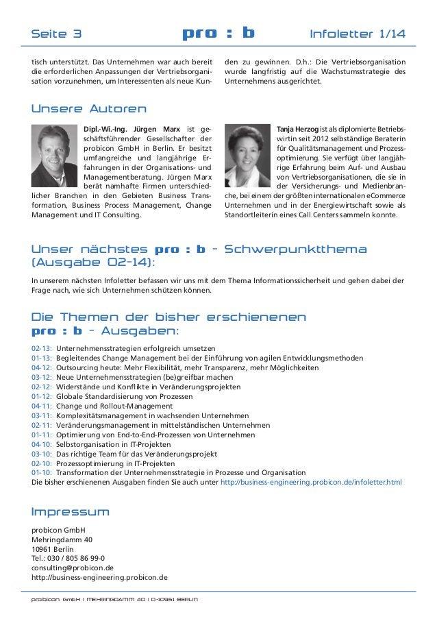 probicon GmbH | MEHRINGDAMM 40 | D-10961 BERLIN  pro : b Infoletter 1/14Seite 3 tisch unterstützt. Das Unternehmen war au...