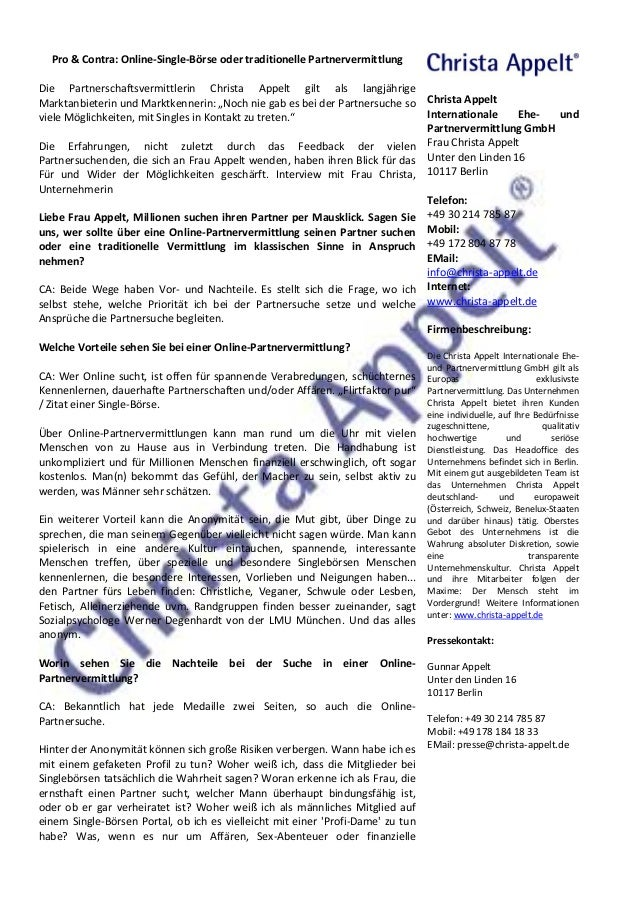 Pro & Contra: Online-Single-Börse oder traditionelle Partnervermittlung  Die Partnerschaftsvermittlerin Christa Appelt gil...