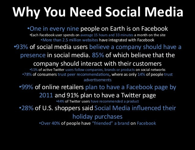 Why  You  Need  Social  Media   One  in  every  nine  people  on  Earth  is  on  Facebook  ...