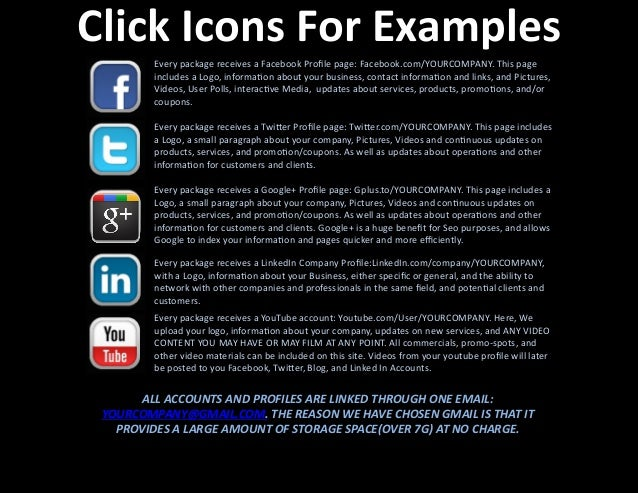 Click  Icons  For  Examples   Every  package  receives  a  Facebook  Profile  page:  Facebook.com/YOU...