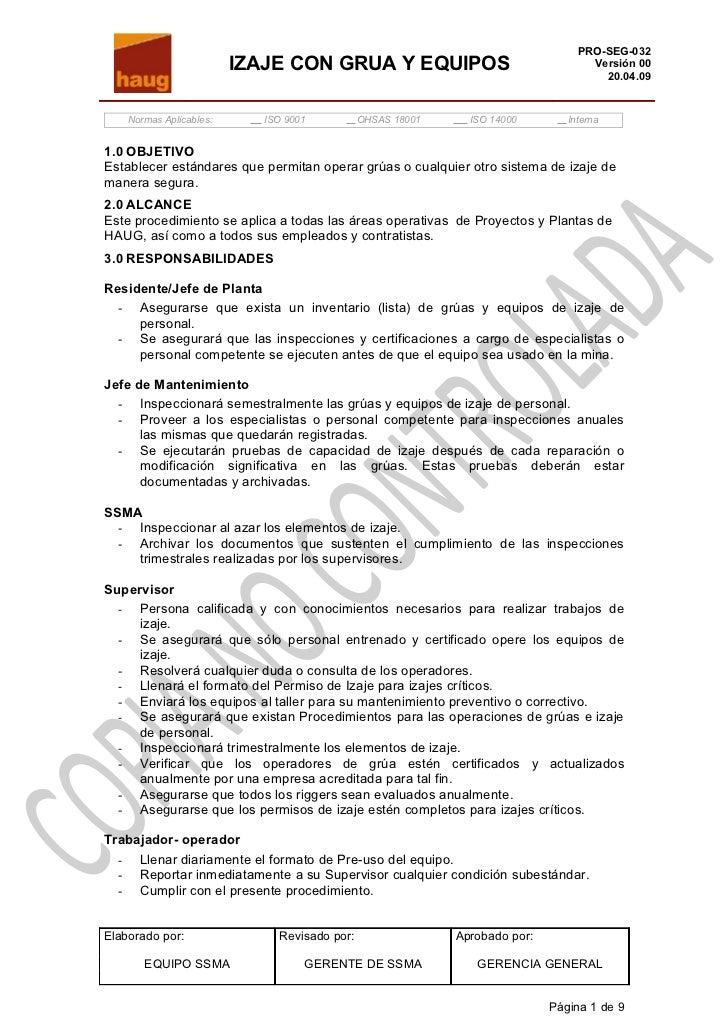 PRO-SEG-032                         IZAJE CON GRUA Y EQUIPOS                                 Versión 00                   ...