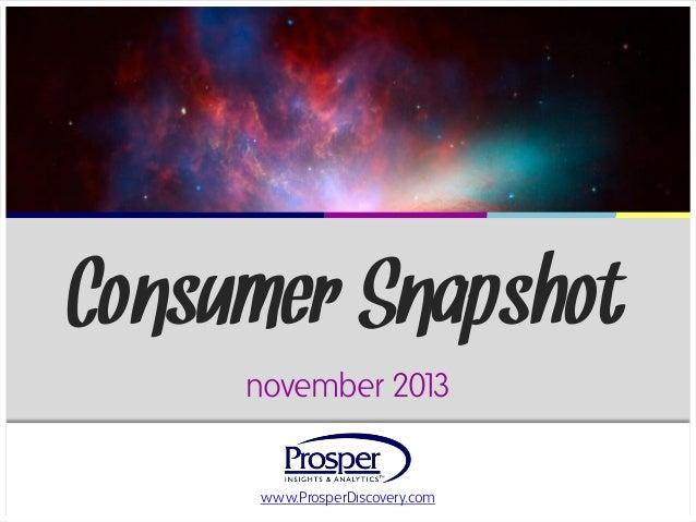 Consumer Snapshot november 201 3  www.ProsperDiscovery.com