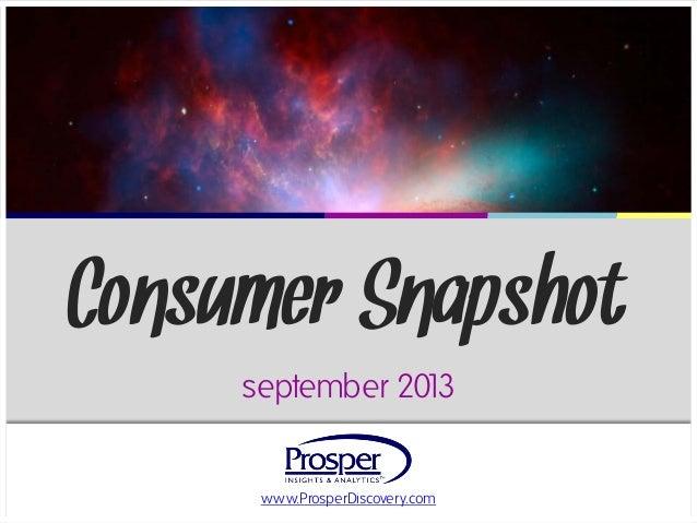 www.ProsperDiscovery.com Consumer Snapshot september 2013