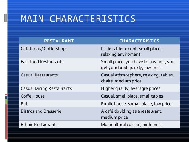 4 characteristics of service in restaurant Are you looking for some ideas to open a new restaurant  this classification is  based on the type of food they serve in addition to its service methodology  the  clientele features mainly the younger age groups, but also an.