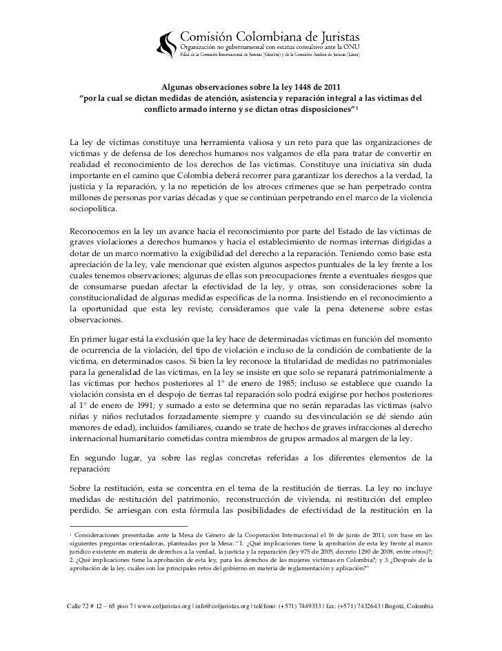 """Algunas observaciones sobre la ley 1448 de 2011     """"por la cual se dictan medidas de atención, asistencia y reparación in..."""