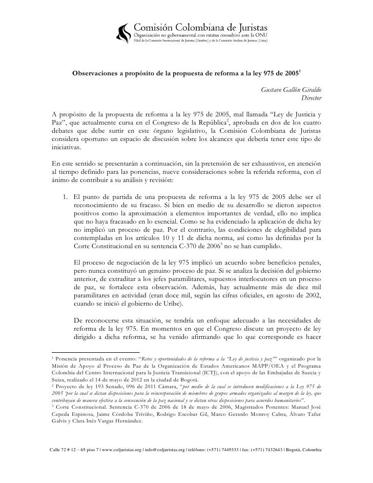 Observaciones a propósito de la propuesta de reforma a la ley 975 de 20051                                                ...