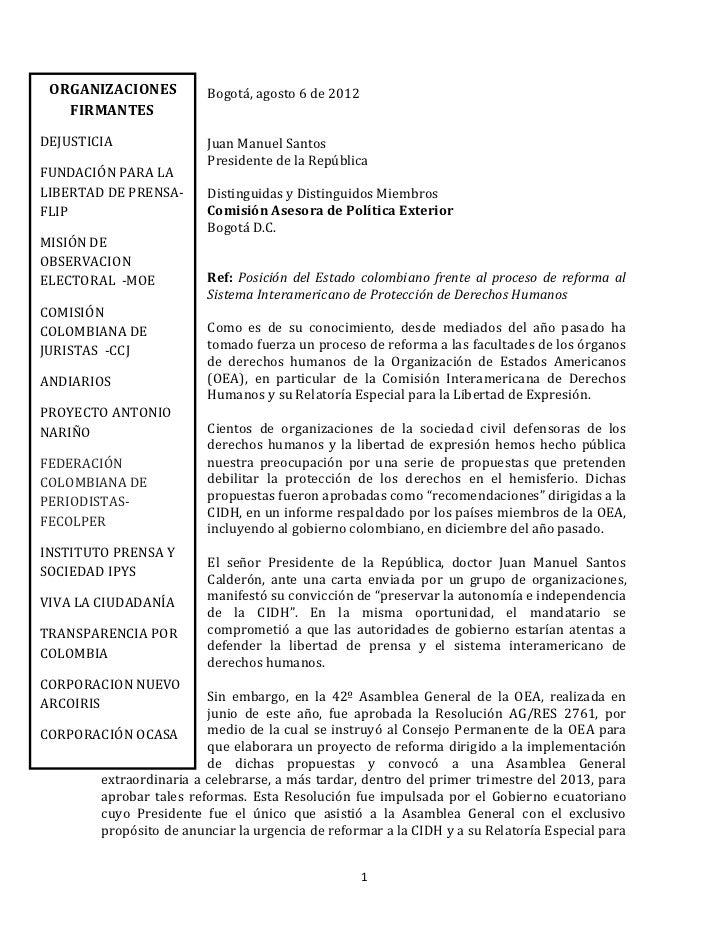 ORGANIZACIONES           Bogotá, agosto 6 de 2012   FIRMANTESDEJUSTICIA                Juan Manuel Santos                 ...