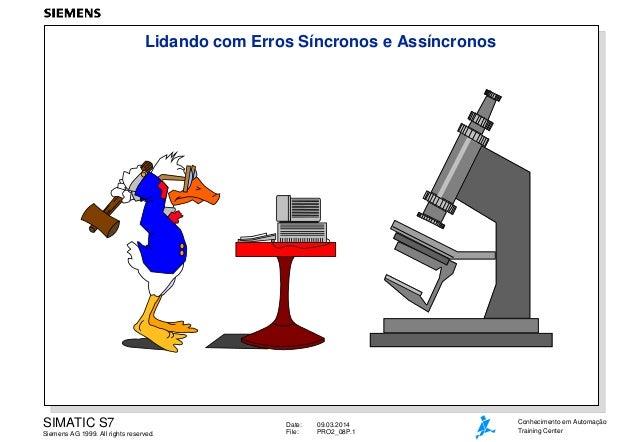 Lidando com Erros Síncronos e Assíncronos  SIMATIC S7 Siemens AG 1999. All rights reserved.  Date: File:  09.03.2014 PRO2_...