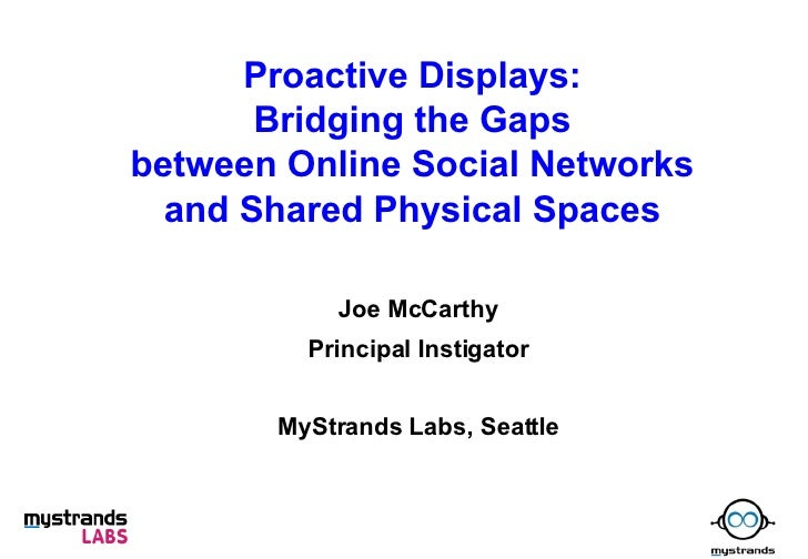 Proactive Displays: Bridging the Gaps between Online Social Networks and Shared Physical Spaces Joe McCarthy Principal Ins...