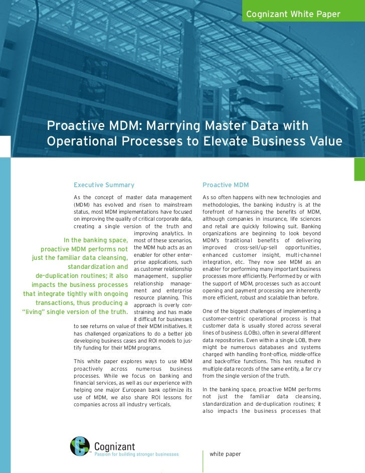 Cognizant White Paper               Proactive MDM: Marrying Master Data with           Operational Processes to Elevate Bu...