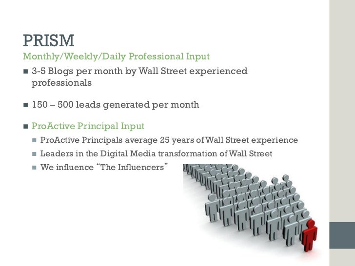 PRISMMonthly/Weekly/Daily Professional Inputn 3-5 Blogs per month by Wall Street experienced    professionalsn   150 –...