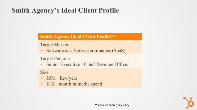 Smith Agency's Ideal Client Profile Smith Agency Ideal Client Profile** Target Market • Software as a Service companies (S...