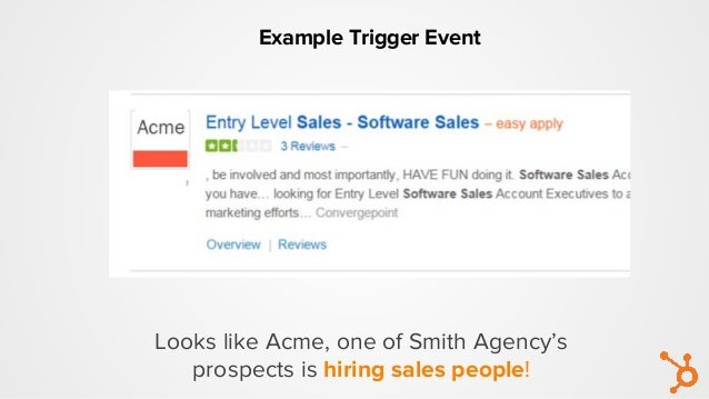 Looks like Acme, one of Smith Agency's prospects is hiring sales people! Example Trigger Event