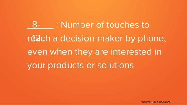 _____ : Number of touches to reach a decision-maker by phone, even when they are interested in your products or solutions ...