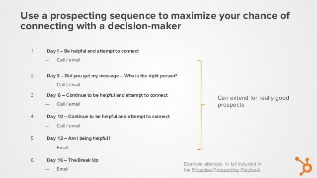 Use a prospecting sequence to maximize your chance of connecting with a decision-maker Can extend for really good prospect...