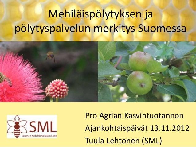 Mehiläispölytyksen ja pölytyspalvelun merkitys Suomessa  Pro Agrian Kasvintuotannon Ajankohtaispäivät 13.11.2012 Tuula Leh...