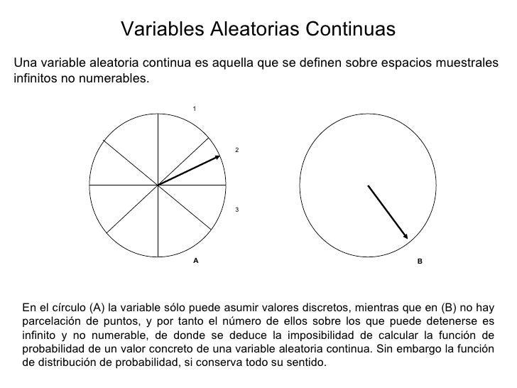 Variables Aleatorias Continuas Una variable aleatoria continua es aquella que se definen sobre espacios muestrales infinit...