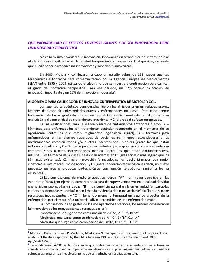 Viñetas.Probabilidaddeefectosadversosgravesydeserinovadoradelasnovedades.Mayo‐2014 Grupoevalmed‐GRADE(eval...