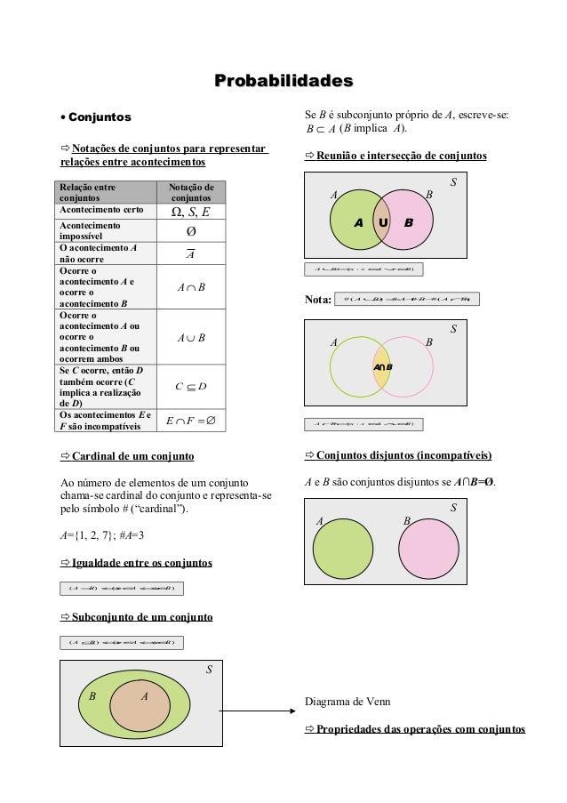 Probabilidades• Conjuntos                                     Se B é subconjunto próprio de A, escreve-se:                ...