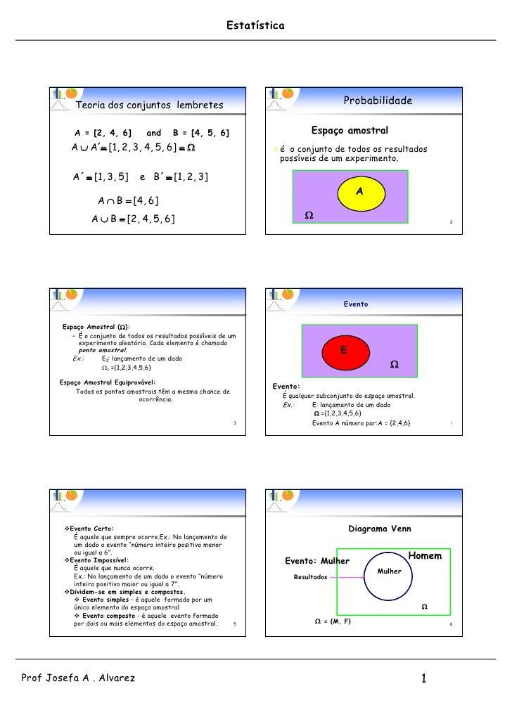 Estatística            Teoria dos conjuntos lembretes                                                Probabilidade        ...